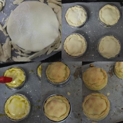 Making small artichoke, bean and potato pies 2