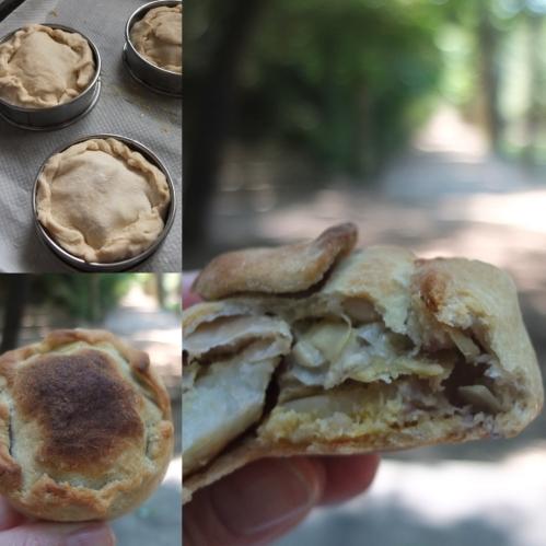 Artichoke, bean and potato pies, prototype 1