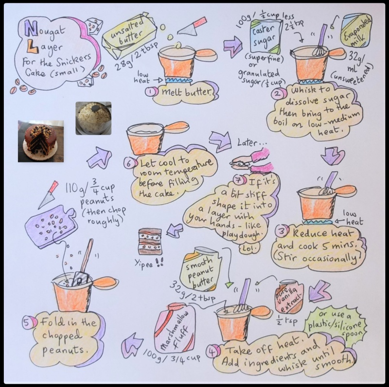 Nougat layer for Snickers Cake illustrated recipe