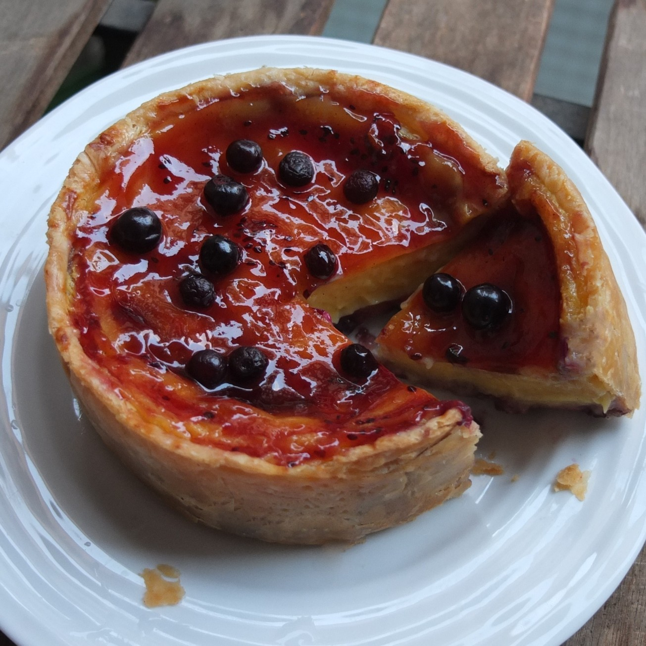 Blackcurrant custard tart - flan cassis