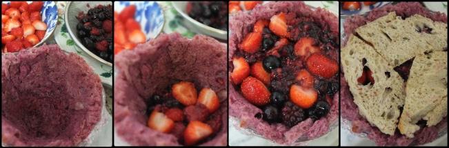 Assembling the sourdough summer pudding 3