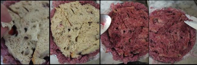 Assembling the sourdough summer pudding