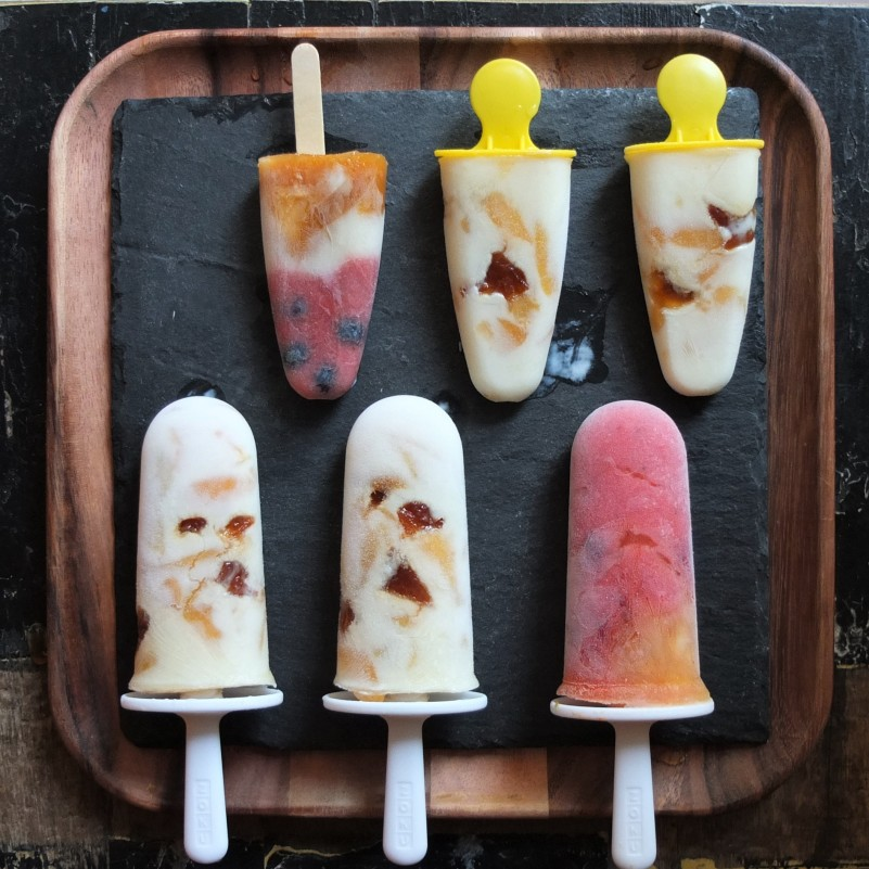 Apricot and kefir ice lollies