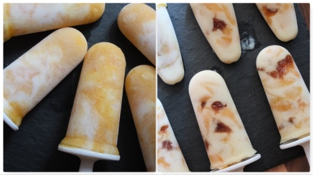Kefir and apricot ice lollies