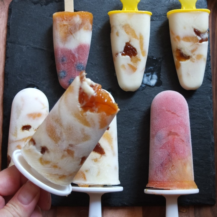 Apricot, kefir and marmalade ice lollies