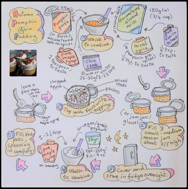 Autumn pumpkin chia pudding illustrated recipe