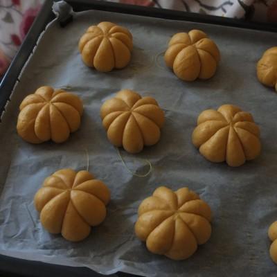 Pumpkin and chocolate buns, proofed