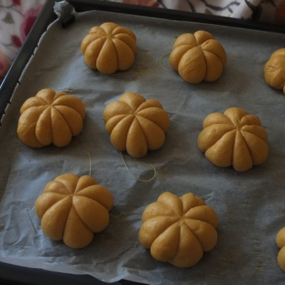 Pumpkin and chocolate buns, proofed