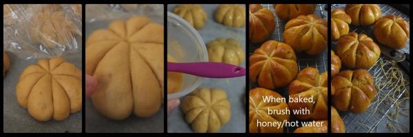 Pumpkin and chocolate buns, baking