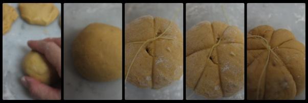 Pumpkin and chocolate buns, shaping