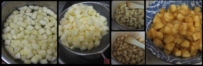 Cooking apples for the apple pie layer cake