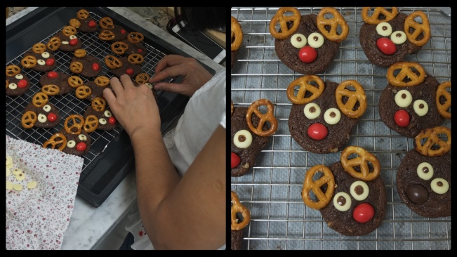 Decorating the Rudolph chocolate cookies 2