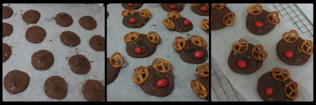 Decorating the baked Rudolph chocolate cookies