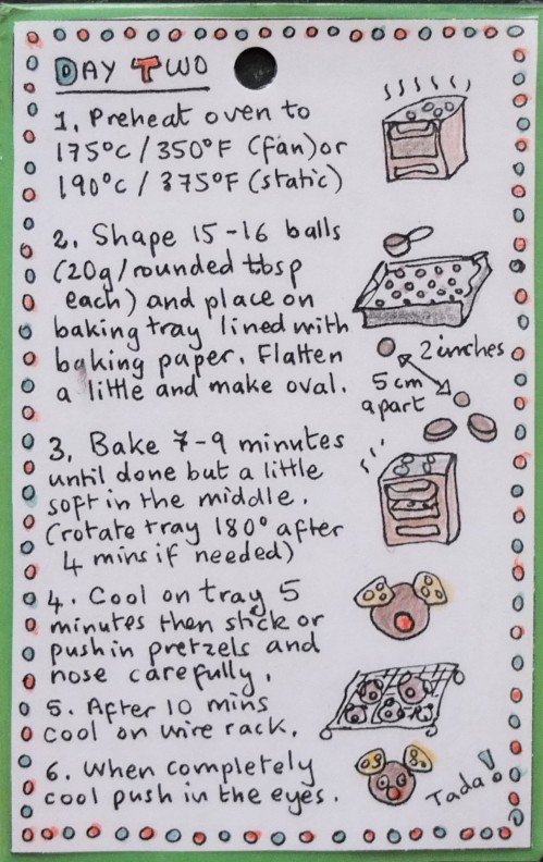 Rudolph chocolate cookies - shaping and baking illustrated recipe