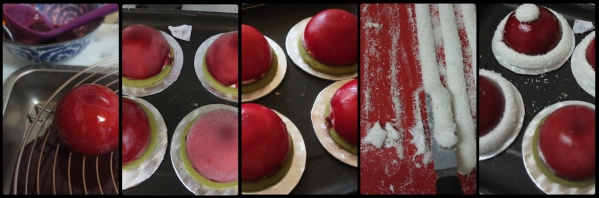 Assembling the santa hat cherry matcha dome cakes
