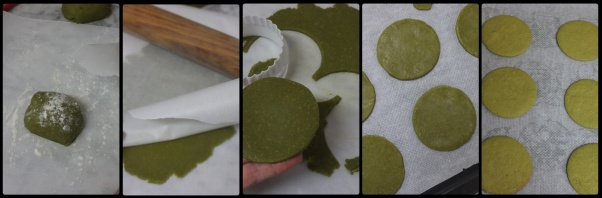 Baking matcha biscuit bases