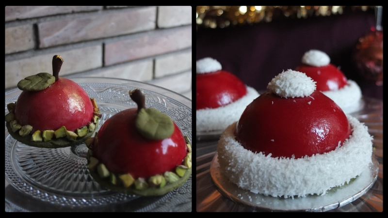 Cherry or Santa hat dome cakes