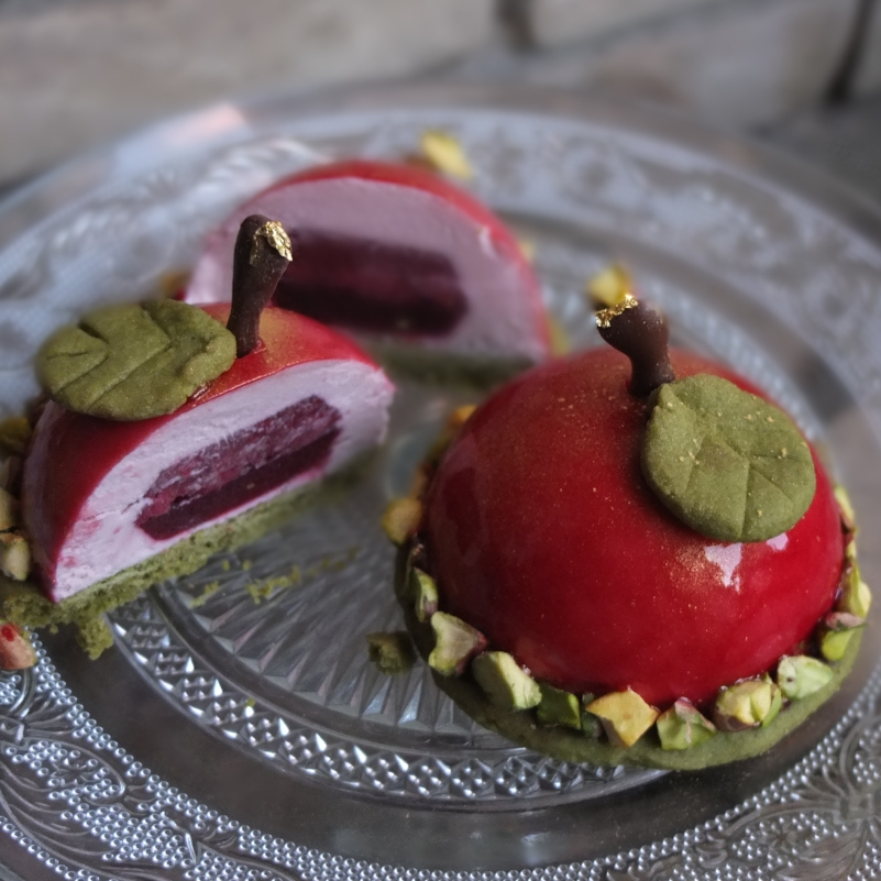 Cherry and matcha dome cakes