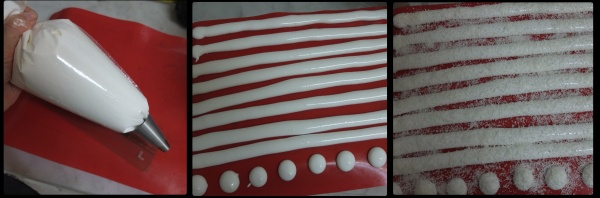 Marshmallow for santa hat cherry dome cakes - piping