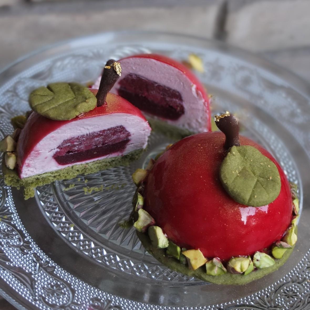 Cherry matcha dome cakes