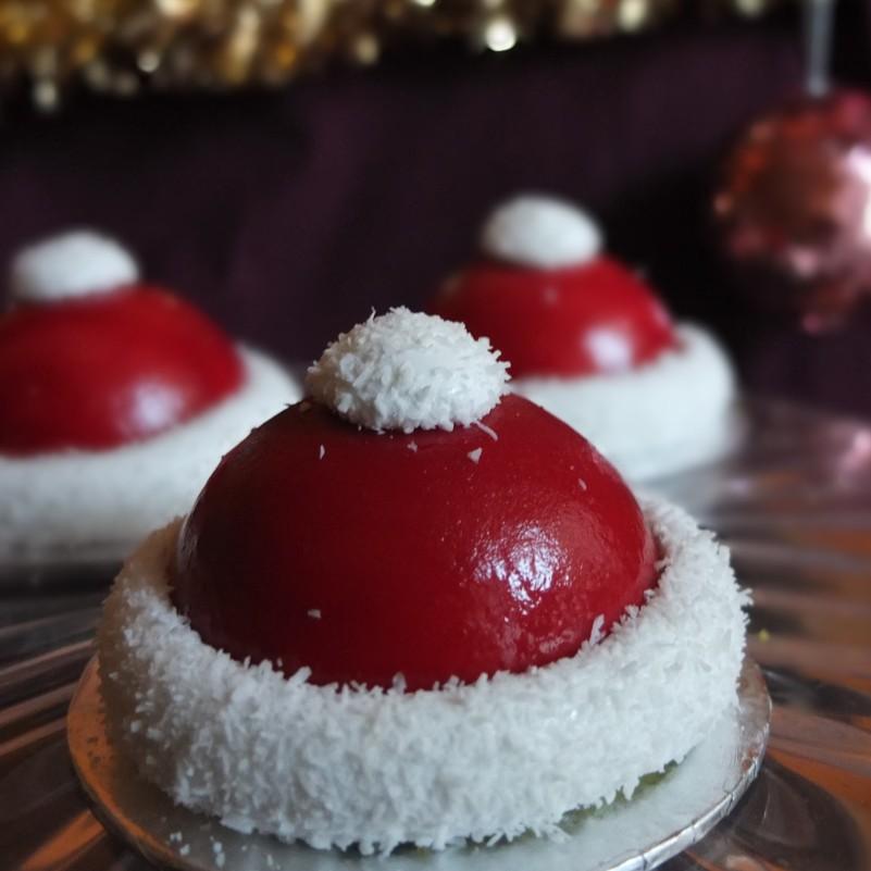 Santa hat cherry matcha dome cakes
