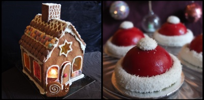 Gingerbread house and santa hats