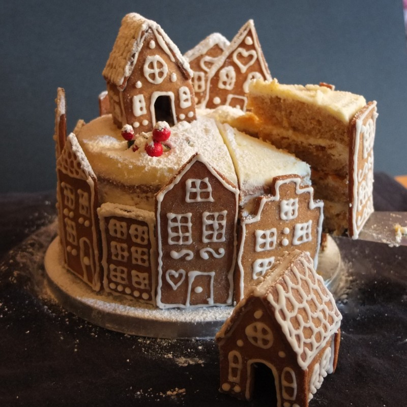 Gingerbread village orange spiced cake