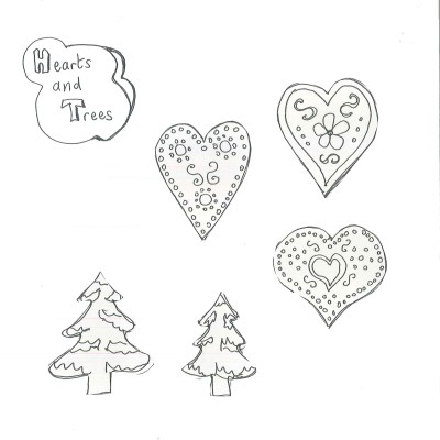 Gingerbread hearts and trees template