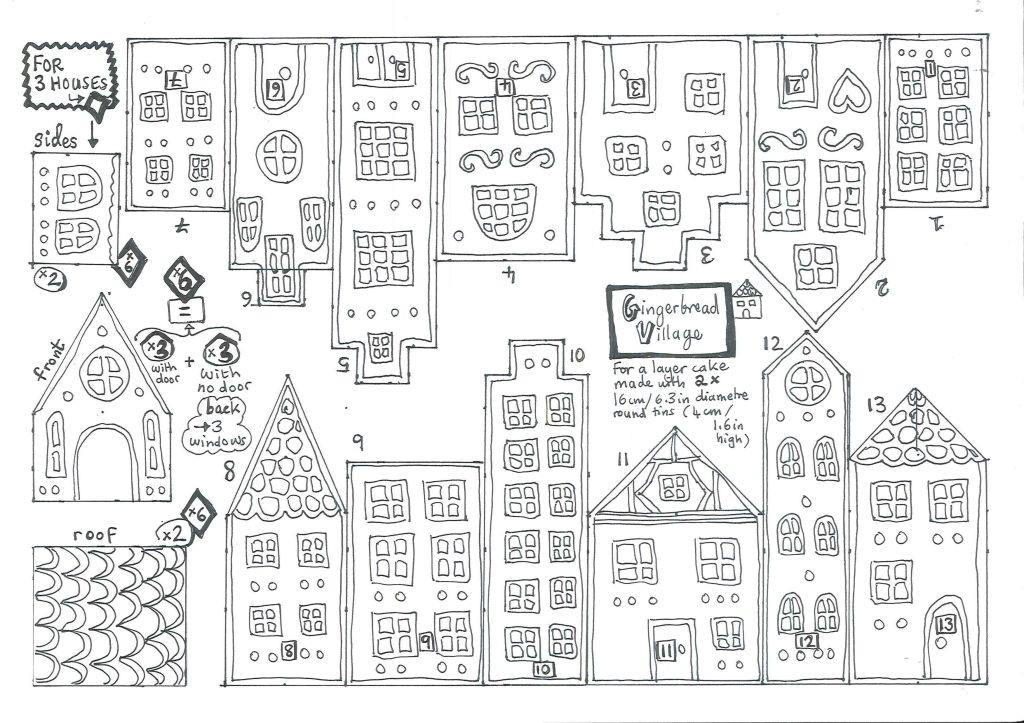 Gingerbread village houses template