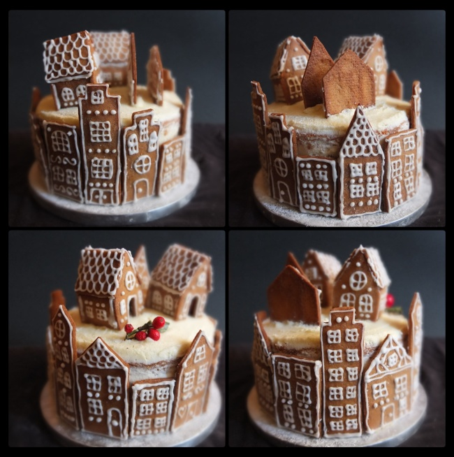 Gingerbread village orange spiced layer cak
