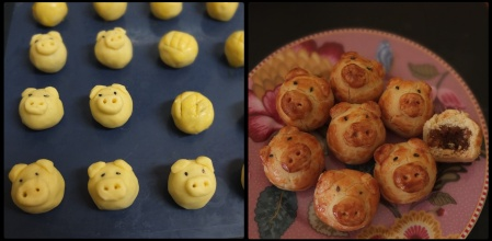 Making piggy pineapple tarts