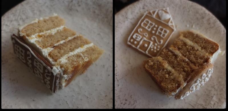 Slices of gingerbread village orange spiced cake