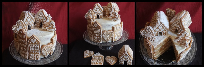 Valentines gingerbread village spiced orange cake