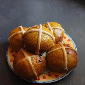 Ruby pumpkin and orange sourdough hot cross buns