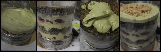 Black sesame. raspberry and matcha cake - assembling 2