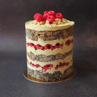 Black sesame, raspberry aand matcha layer cake