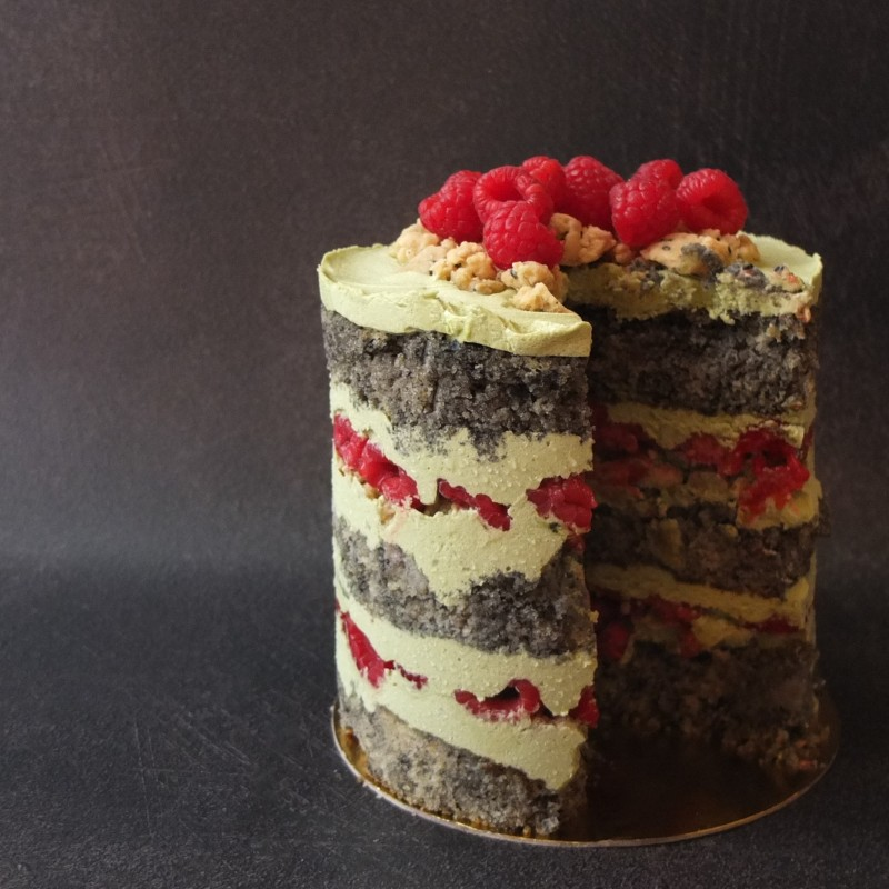 Black sesame, raspberry aand matcha layer cake