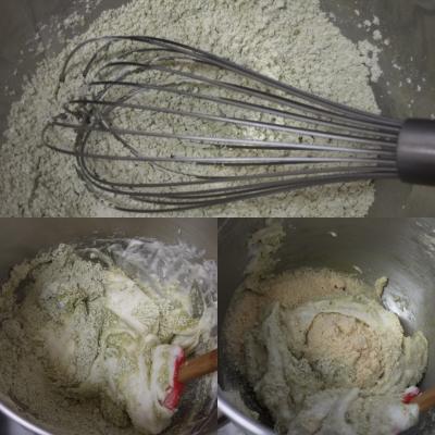 Making matcha dacquoise, 2