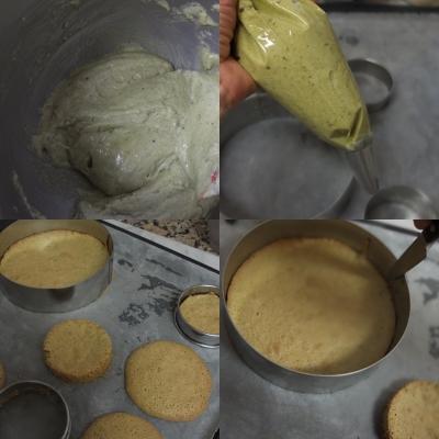 Making matcha dacquoise, 3