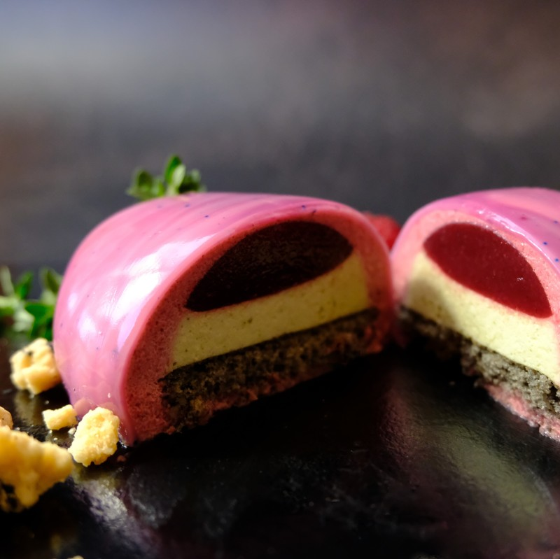 Zen stones mousse cakes - blackcurrant, raspberry, matcha and black sesame entremets