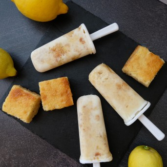 creamy lemon squares in half-healthy lime yoghurt and skyr ice lollies (popsicles)