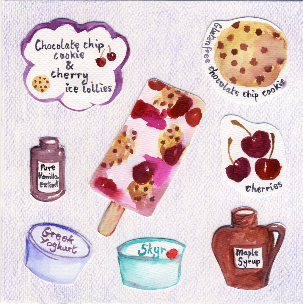 Choc chip cookies and cherry ice lollies recipe illustration
