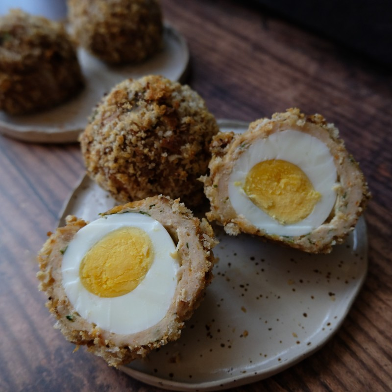 5-spices and spring onTogarashi and coriander minced chicken scotch eggs