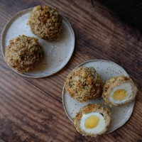 Healthier spiced pork or chicken scotch eggs recipe!  Baked with Chinese five-spice powder, shichimi togarashi or your favourite spices!