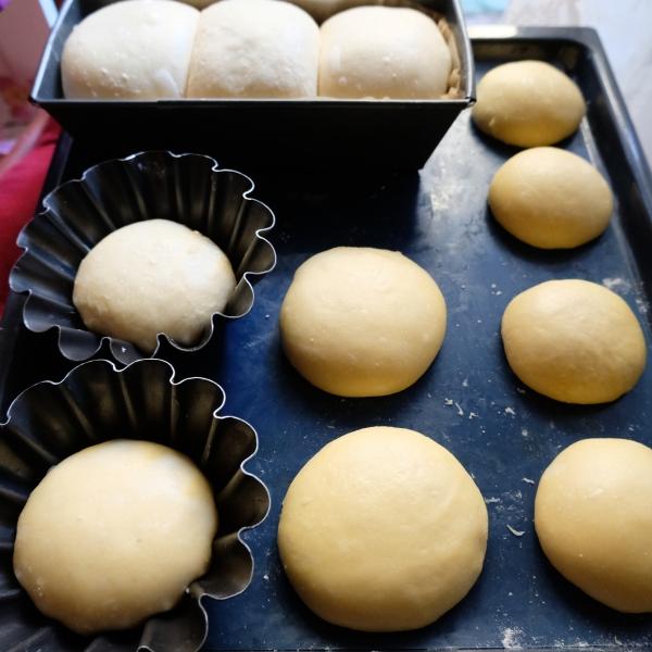 Proofed sourdough brioches