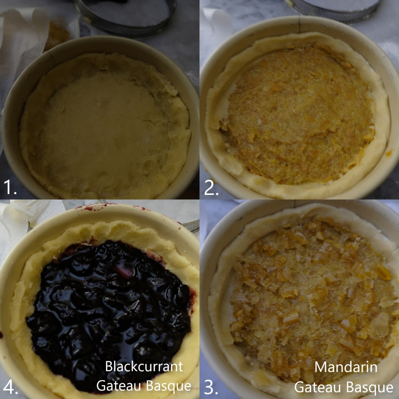 Assembling Gateaux Basques 2 - jam or compote layer