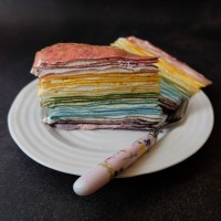 Cardamom and vanilla Greek yoghurt cream rainbow crêpe cake recipe!  No-bake, with mostly natural food colourings... :)
