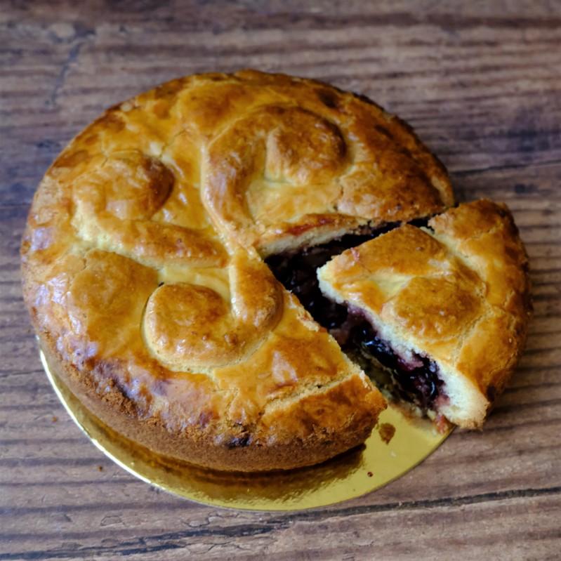 Sour cherry jam, redcurrant, walnut gateau basque
