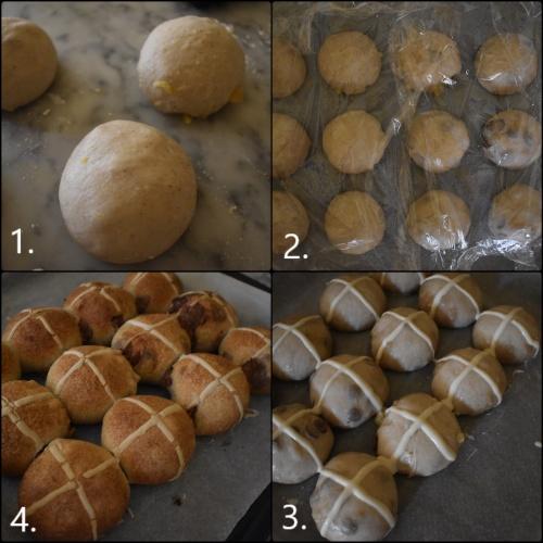 Baking sourdough hot cross buns