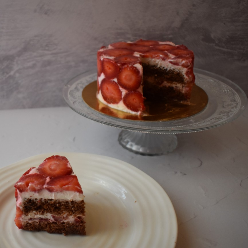 Modernist strawberry chocolate cake